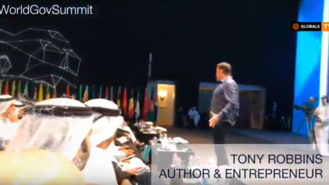 Tony Robbins presents in The World Government Summit