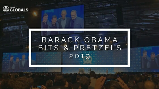 Barack Obama at Bits & Pretzels Founders Festival 2020 Club GLOBALS Banner